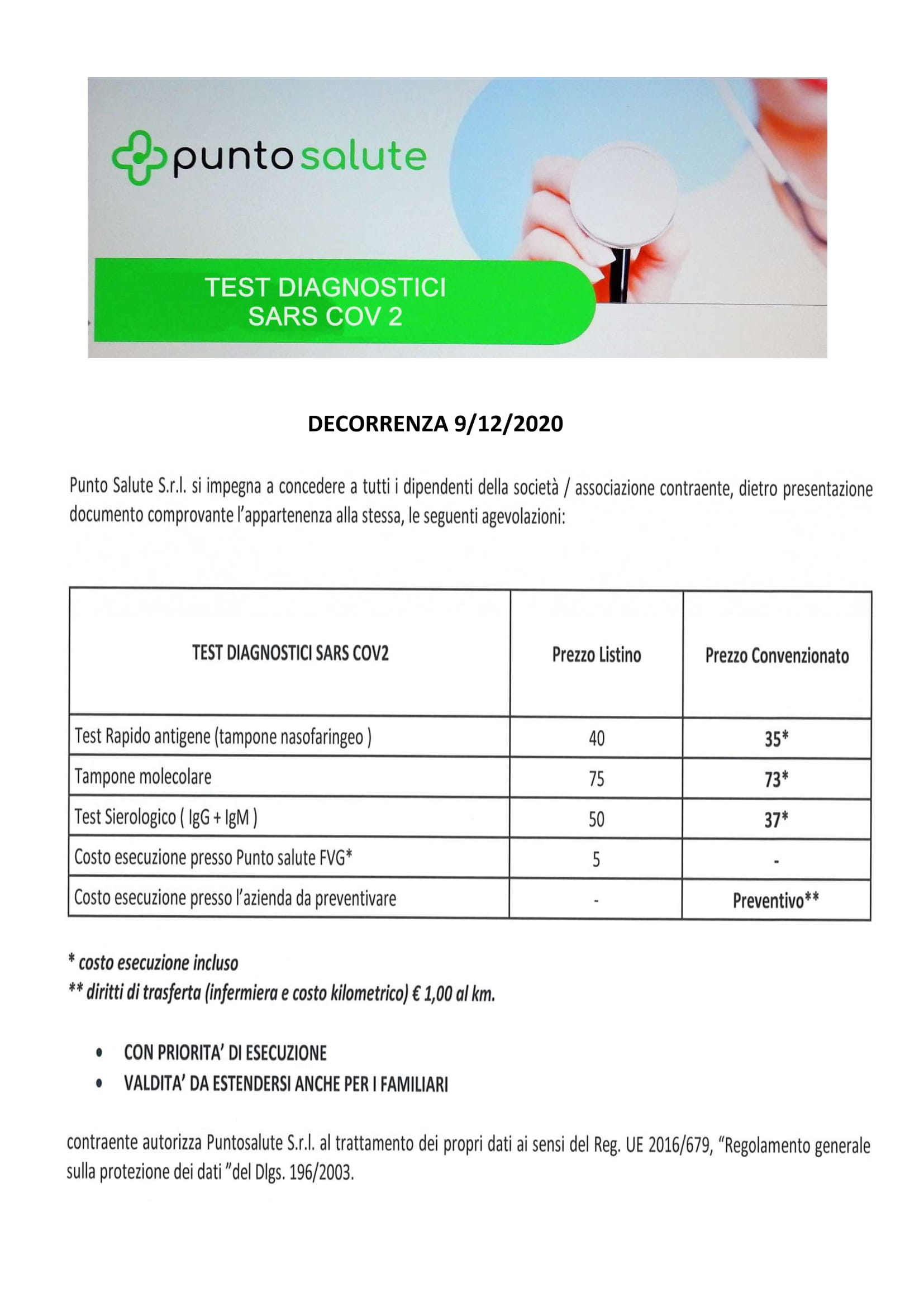 Test diagnostici Sars Cov-2